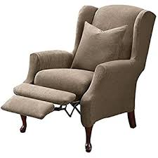 Stretch Wing Chair Slipcover Amazon Com Sure Fit Stretch Pique Reclining Wing Chair