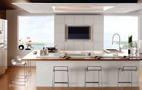modern bright kitchen design ideas in white color scheme with u modern bright kitchen design ideas in white color scheme with u shaped kitchen island and curved steel faucet