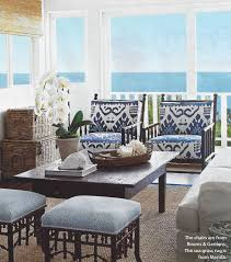 Coastal Living Dining Room Outdoor Room In Quadrille Kazak Blue Suncloth On Chairs Stools In
