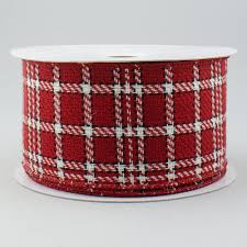 plaid ribbon 2 5 tartan plaid ribbon crimson black white 10 yards