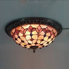 Flush Mounted Ceiling Lights by Tiffany Flush Mount Ceiling Light With Flower And Lattice