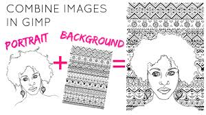 how to combine two images in gimp making a coloring book page
