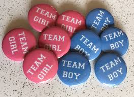 10 x gender reveal badges team boy team