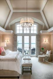 Crystal Drum Shade Chandelier Traditional Master Bedroom With High Ceiling U0026 French Doors