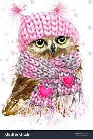 cute owl watercolor illustration tee shirt stock illustration