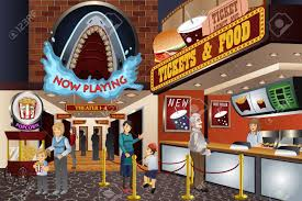 a vector illustration of people waiting to buy tickets in a movie