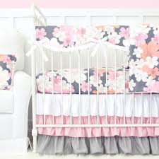 addison pink and gray floral crib bedding set by caden lane