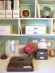 Decorate Office Shelves by Chic Organized Home Office For Under 100 Hgtv