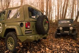 matte brown jeep geiger sends off jk wrangler with ww2 style willys special