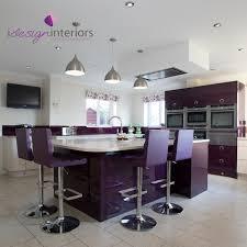 high gloss aubergine and cream kitchen by idesign interiors