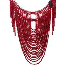 fashion jewelry red necklace images Fashion jewelry vintage statement body shoulder bib full resin jpg
