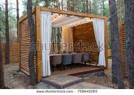 wooden tent wooden tent table chairs modern design stock photo royalty free