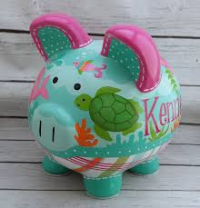Monogrammed Piggy Bank Personalized Piggy Bank Mermaid Artisan Hand Painted Ceramic