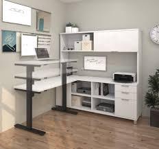 credenza computer desk modern sit stand desk with credenza u0026 hutch in white officedesk com