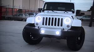 light blue jeep wrangler 2 door oracle jeep wrangler sahara with white leds youtube