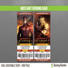 the flash birthday ticket invitations instant download and edit