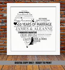 10 year wedding anniversary gift ideas 35th wedding anniversary gift for parents