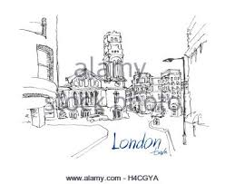 cityscape drawing sketch in london england show walk street at