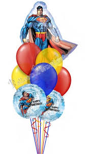character balloons delivery superman birthday shape balloon bouquet 9 balloons