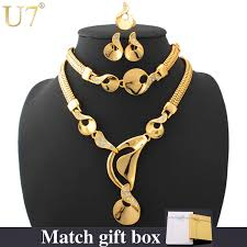 gold necklace bracelet earrings set images U7 yellow gold plated bridal jewelry set necklace bracelet jpg