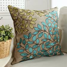 Large Sofa Pillows by Leaves Embroidered Throw Pillows For Couch Minimalist Style Blue
