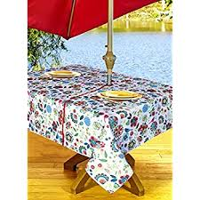 Patio Table Cover With Zipper Amazon Com Outdoor Tablecloths Umbrella Hole With Zipper Patio