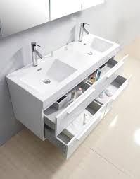 54 inch double sink wall mounted wenge finish bathroom vanity