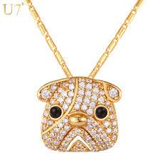gold dog pendant necklace images U7 gold silver color full crystal cute pug dog pendant necklace jpg