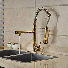 cornet gold finish kitchen sink faucet with dual spouts u0026 cover