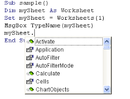 excel vba editor autocomplete for the worksheet object u0027s