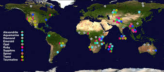 Production Map Gem Quality Mining Countries The 10 Most Important Gemstones The Localities