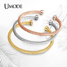 rose color bracelet images Umode dull polish white rose gold three tone color cuff jpg