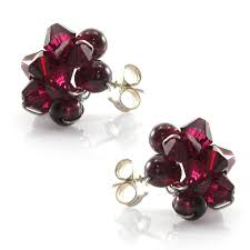garnet stud earrings swarovski element and garnet stud earrings fashion