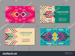 aztec style colorful business card set stock vector 590055866