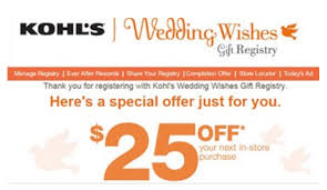 free gifts for wedding registry kohl s free 25 credit when you create a wedding registry