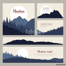 outdoor cards design with mountains on background set of stylish