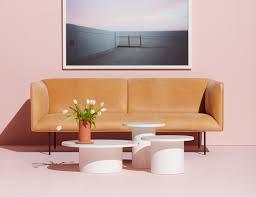 Blu Dot Bonnie Sofa by Plateau White Marble Top Coffee Table Blu Dot