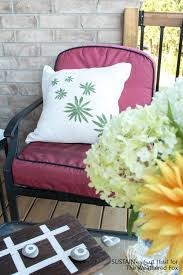 diy leaf stamped outdoor pillow covers the weathered fox
