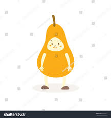 editable fruit pear costumes fruit kids vector stock vector 289174511