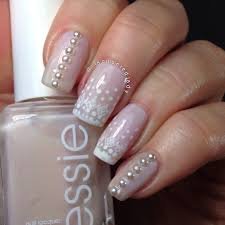 lace and pearls nail art wedding nails