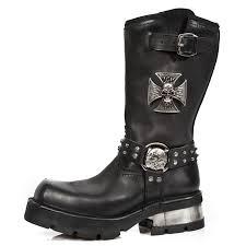 black biker boots m 1612 c1 new rock black biker boots with studs cross
