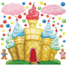 candyland castle cotton candy land castle clouds wall decals