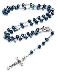 catholic rosary necklace loyallook 10mm blue catholic rosary