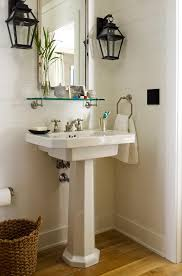 Shelf For Pedestal Sink Blue Powder Room With White Pedestal Sink Transitional Bathroom
