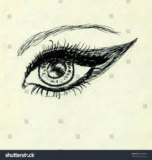grunge sketch human eye on yellow stock illustration 266790869