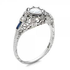 deco engagement ring estate diamond and sapphire deco engagement ring 100904