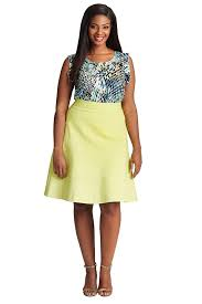 plus size ponte flared skirt in limeade u2013 mynt 1792
