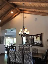 Lighting For Sloped Ceilings by Hanging Rectangular Chandelier With 2 Wires On Sloped Ceiling
