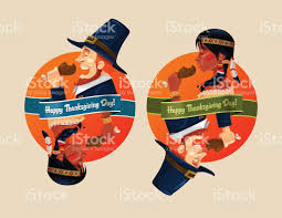 happy american thanksgiving cartoon pilgrim and native american thanksgiving day stock