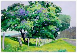 jacaranda trees acrylic painting demonstration